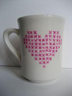 Cross stitch Heart Mug