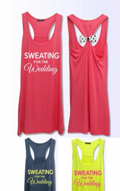 Sweating for the wedding workout fitness bow tank top PK_364