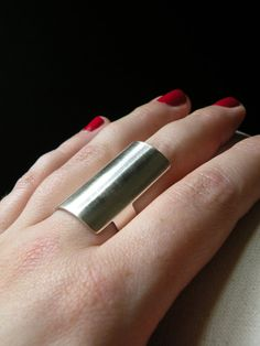 i really love this girls jewellery. simple! silver! done! / Personal Armor - long knuckle sterling silver ring band via Etsy