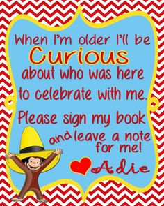 Curious George Birthday Party Sign-in