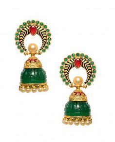 Green Jhumka Earrings with Pearl Drops