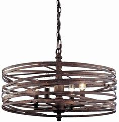 Miseno Weathered Iron 4-Light Strap Cage Chandelier