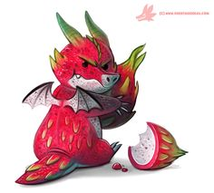 Daily Paint Dragon Fruit Keeper by Cryptid-Creations Time-lapse, high-res and WIP sketches of my art available on Patreon (: Cute Food Drawings, Cute Animal Drawings, Kawaii Drawings, Cool Drawings, Kawaii Dragon, Fruits Kawaii, Desenhos Cartoon Network, Chibi, Fruits Drawing