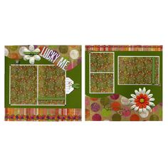 Lucky Me - Two Coordinating 12x12 Premade Scrapbook Pages