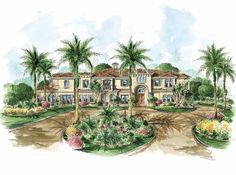 Eplans Mediterranean House Plan - Four Bedroom Mediterranean - 4802 Square Feet and 4 Bedrooms from Eplans - House Plan Code HWEPL67841