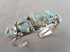 Signed Vintage NAVAJO Sterling Silver & Dry Creek Turquoise Cuff BRACELET, Fred Guerro