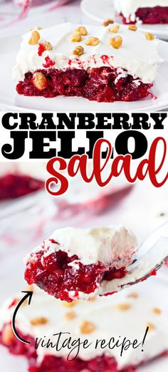 Cranberry Jello Salad with tart cranberries, sweet jello, & creamy topping create a dish that will make you want to hug your grandmother. Easy Holiday Desserts, Fun Desserts, Holiday Recipes, Delicious Desserts, Dessert Recipes, Yummy Food, Family Recipes, Christmas Desserts, Christmas Treats