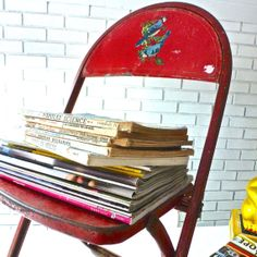 Vintage Children's Red Folding Chair Circa 1950s by LaBrocanterie, $26.00