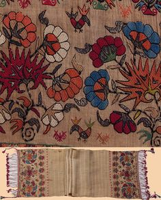 Greek Island Embroidery Silk Silver thread Sash. Early 18th Century