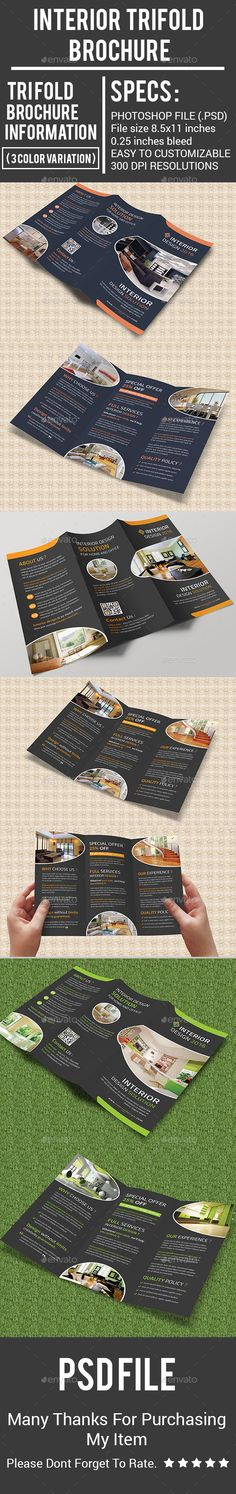 Interior Trifold Brochure Design - Corporate Brochures Template PSD. Download here: http://graphicriver.net/item/interior-trifold-brochure/16895852?ref=yinkira