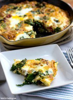 Turkey, Kale, Onion, and Sundried Tomato Frittata via tablefortwoblog.com | Eggs should be cage-free organic.