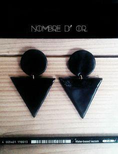 Simple Geometry in Total Black.Polymer clay earrins.