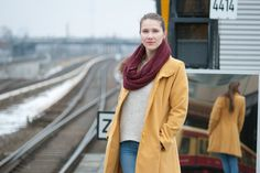 Hi! Welcome to my blog! I'm going to show you this amazing city, my daily life here. Yellow coat, Long hair, Outfit, Scarf, Autumn, Winter, White sweater, Polish girl, Train station