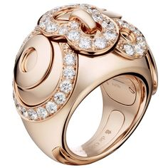 Gypsy Pink Gold and White Diamond Ring by de Grisogono