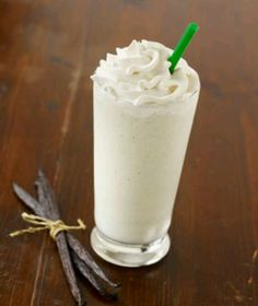 Copy Cat Starbucks Vanilla Bean Creme Frappuccino Recipe - 2/3 C milk, 2/3 C crushed ice, 2 T vanilla flavored syrup, 2 scoops vanilla bean ice cream - blend till smooth, top with whipped cream.
