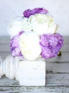 Silk Bride Bouquet Purple Peony Flowers Peonies Lace Shabby Chic Wedding