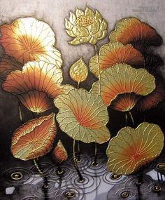 Thai Craft Warehouse - Hand Painted Thai Lotus Painting using Rising Gold Paint Original Thailand Art Lotus Painting, Buddha Painting, Mural Painting, Mural Art, Kiss Painting, Buddha Kunst, Buddha Art, Thailand Art, Gold Leaf Art