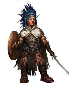 f Gnome Fighter plate shield sword Female