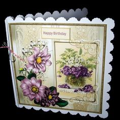 purple flowers card with decoupage on Craftsuprint designed by Angela Wake - made by Dianne Jackson