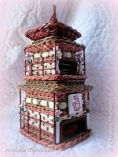 Поделка изделие Плетение Чайный дом и  Мамины сокровища Бумага Трубочки бумажные фото 1
