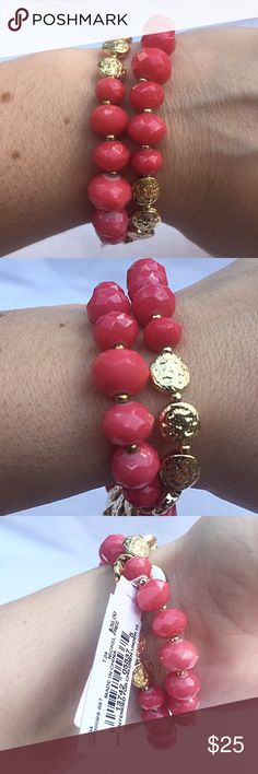 Pinkish Coral & Gold Stretchy 2 Strand Bracelet NWT... Jones New York Pinkish Coral and Gold Stretchy 2 Strand Bracelet. Two bracelets are linked together...stretchy slip over hand. Perfect for spring and summer! MSRP is $36. Jones New York Jewelry Bracelets