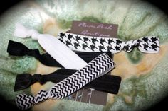 The  Black and White  Yoga Elastic Knotted Hair Ties  by PlumPosh, $5.75