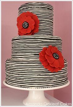 Black & White Stripes w/ Red Flowers