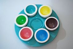 Colorful Egg Cups & Tray  Set of 7 by TheGoodiesShop1 on Etsy, $20.00