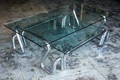Chrome and Glass Coffee Table 1960's by RehabVintageLA on Etsy
