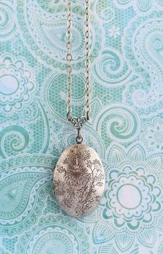 Silver Locket Necklace Floral Etched Locket