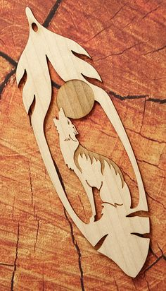 Howling Wolf Feather Bookmark Wood Bookmark Bookmark by FinePenArt