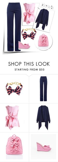 Navy And Pink Bow Outfit by siriusfunbysheila1954 on Polyvore featuring Yanny London, Joules, Altuzarra, Charlotte Olympia, Sugarbaby and Brooks Brothers