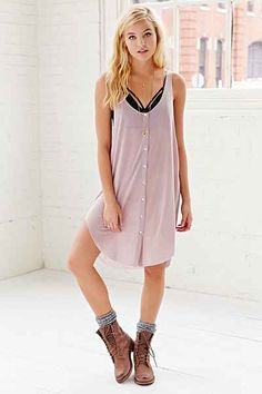Project Social T Hooded Button-Front Slip Dress - Urban Outfitters