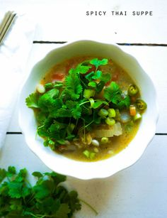 Spicy thai suppe - vegetar
