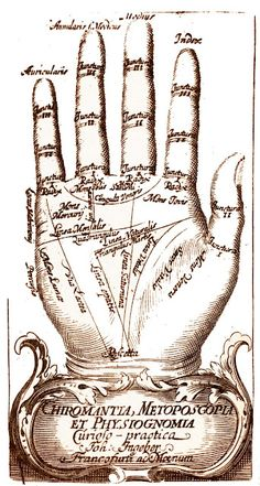 A palm readers guide... this would be great to recreate on a plaster hand. Then place it on a shelf with a framed fortune teller pic & a deck of tarot cards.