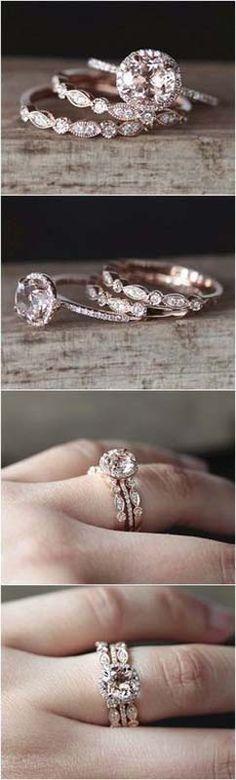 Rose Gold Morganite Engagement Ring Set wedding rings 2018