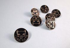 Black Enamel cat lapel pin Cat pin Enamel pin by ilikeCATSshop