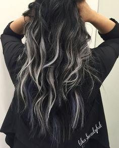 black silver balayage curly hair                                                ...