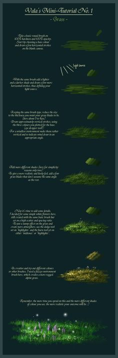 A quick little tutorial about how I draw grass. I created it in Photoshop Elements 8.0 but it is applicable to almost any good art program. No. 2 & 3: