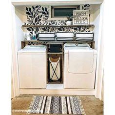 Small Laundry Rooms, Laundry Room Organization, Laundry Room Design, Laundry Room Tile, Laundry Room Wall Decor, Room Decor, Laundry Closet Makeover, Laundry Room Remodel, Laundry Room Wallpaper