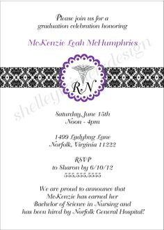 Nurse Graduation Pinning Ceremony Invitation / Caduceus Damask Band / your accent color / UPRINT  /   printable digital file. $14.00, via Etsy.