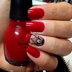 50 Red nail polish can't have enough of this beautiful look - Reny styles Red Nail Polish, Red Nails, Love Nails, Pretty Nails, Henna Nails, Mandala Nails, Perfect Nails, Manicure And Pedicure, Nails Inspiration