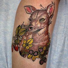 Deer and berries done by Deer Tattoo, Jacksonville Beach, Nature Tattoos, Berries, Animals, Animales, Animaux, Deer Antler Tattoos, Bury