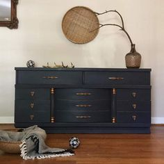 Vermont Slate by CeCe Caldwell's Chalk & Clay Paint was used by Girl In Blue Designs to update this beautiful dresser.