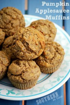"Healthy pumpkin applesauce muffins // ""Hooray for fall! I can't wait to have one with my morning coffee. I added walnuts and subbed agave for honey because that's what I had in the cupboard. I might try them with oatmeal next time. And add some flax and/or chia seeds."""