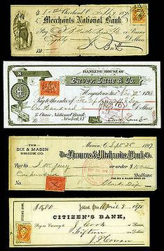 Revenue Stamped Bank Checks dated 1870s, -1899 nicely engraved 4 items item # 130956213760