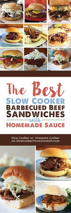 Barbecued Beef Sandwiches are an easy family-friendly dinner any time of year, and this collection has The BEST Slow Cooker Barbecued Beef Sandwiches with Homemade Sauce! These slow cooker barbecued beef sandwiches are great for game-day food as well! [featured on Slow Cooker or Pressure Cooker at SlowCookerFromScratch.com] #SlowCooker #SlowCookerBeef #SlowCookerSandwiches #SlowCookerRecipes #SlowCookerBarbecuedBeef #SlowCookerBarbecuedBeefSandwiches