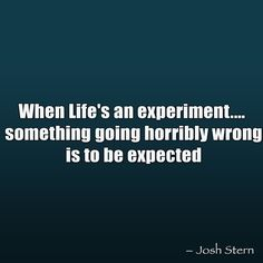 When Life's an experiment.... something going horribly wrong is to be expected