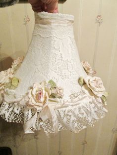 SOLD....handmade pink rose and lace lamp shade, shabby chic style, The Girly Cottage on ETSY