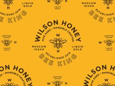 Wilson Honey Bee King - Logo, markup, black, yellow, typography, circle, clean, simple, vintage, retro, illustration, vector, brand identity